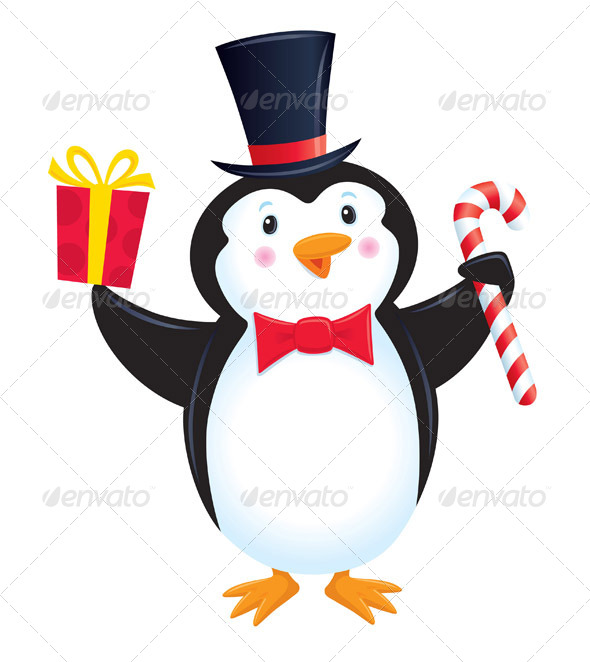 GraphicRiver Penguin In Top Hat Holding A Present 8466554