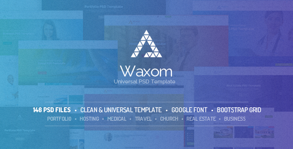 ThemeForest Waxom Clean & Universal PSD Template 8407963