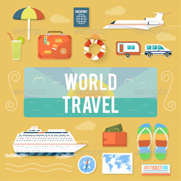 GraphicRiver Traveling and Planning Summer Vacation Set 8429797