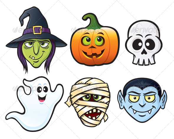 Six Halloween Character Icons