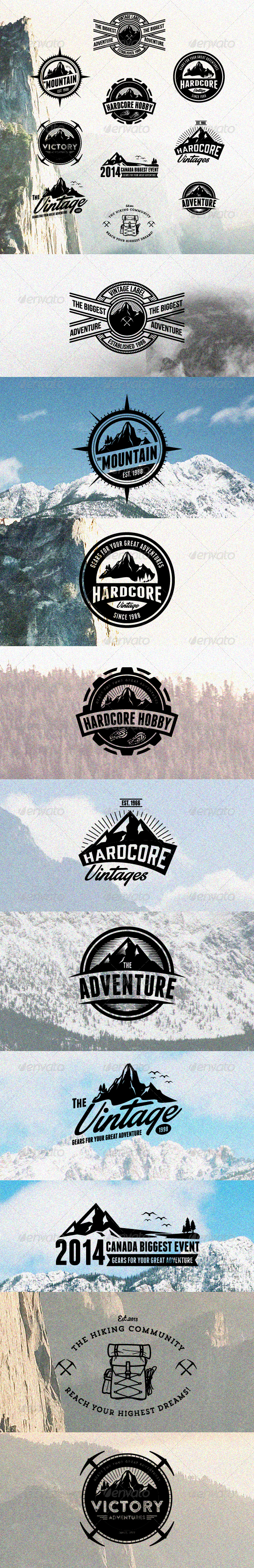 GraphicRiver 10 Hardcore Adventure Logos & Badges 8467073
