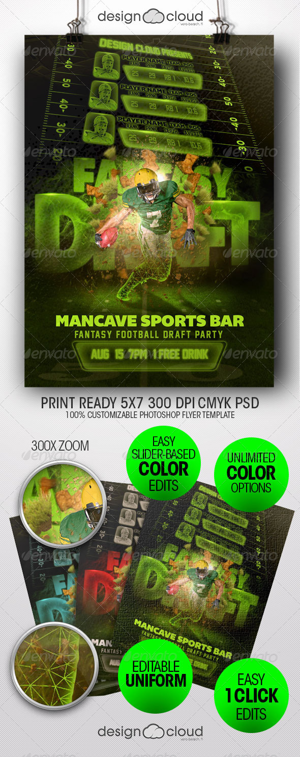 GraphicRiver Fantasy Football Draft Party Flyer Template 8467252