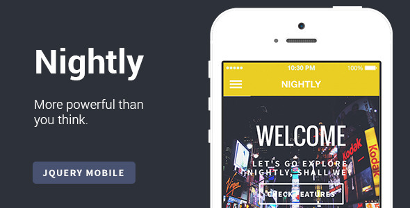 Nightly | A Bold jQuery Mobile Template - Mobile Site Templates