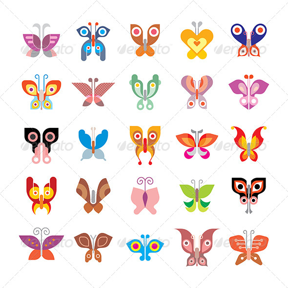 GraphicRiver Butterfly icon Set 8467564