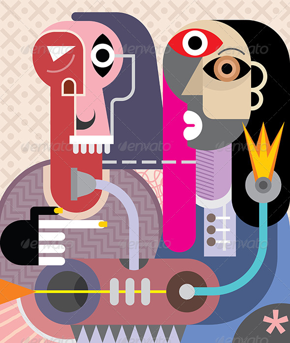 GraphicRiver Man and Woman Abstract Portrait 8467586