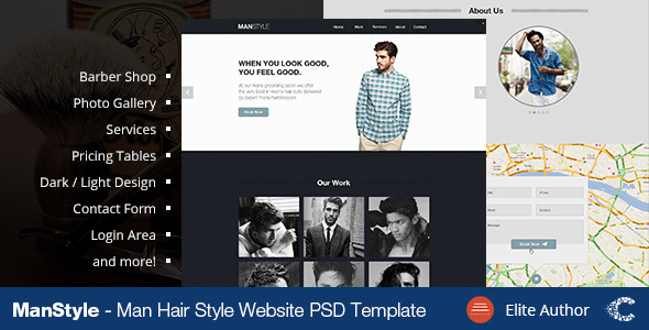 Men's Hair Salon - Beauty - Miscellaneous PSD Templates