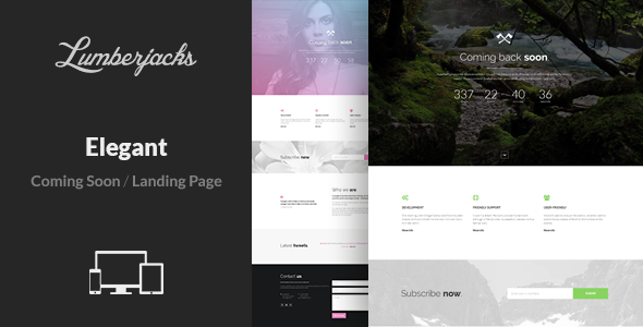 Elegant - Minimal Responsive Coming Soon Template - Under Construction Specialty Pages