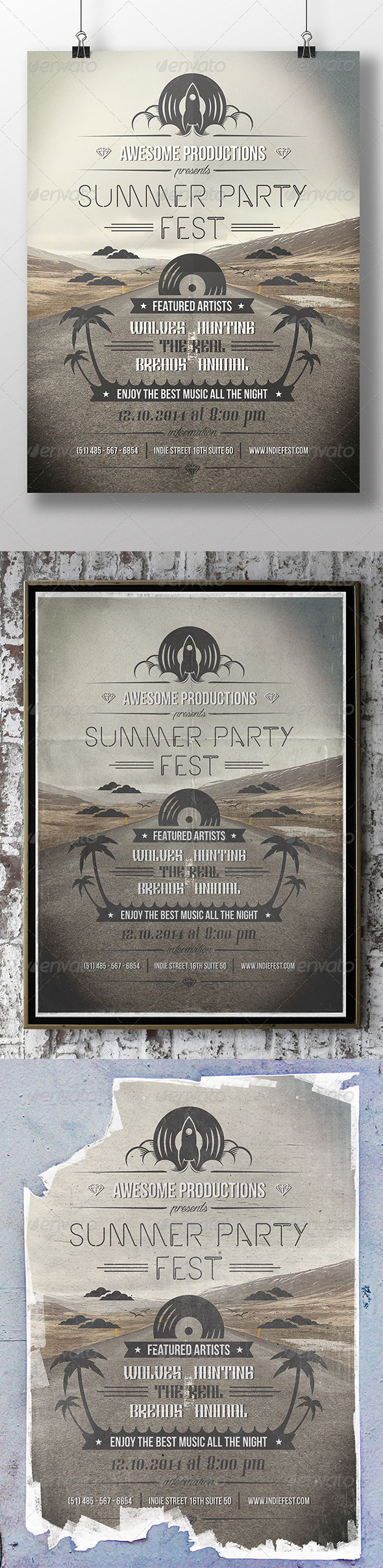 Summer Typography Flyer Poster