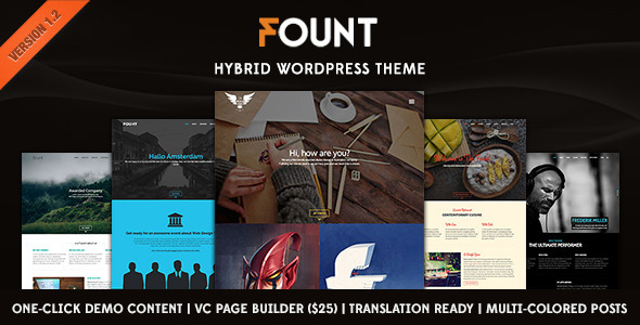 ThemeForest Fount One & Multipage Hybrid Wordpress Theme 8112414