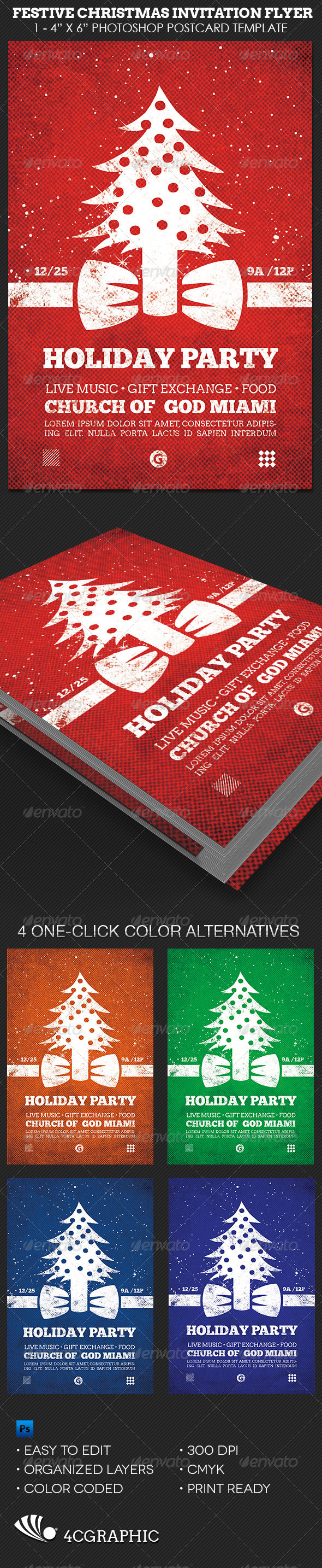 Festive Christmas Invitation Flyer Template - Holidays Events