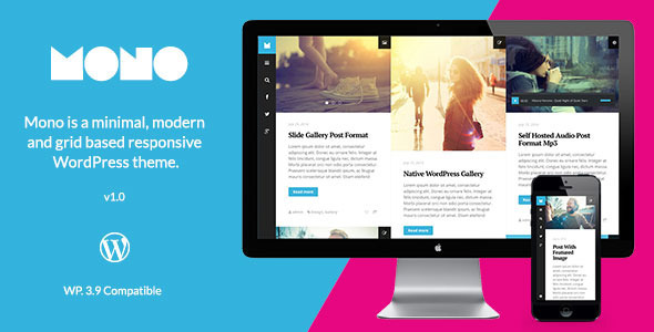 ThemeForest Mono Minimal Modern and Grid Based Blog 8408424