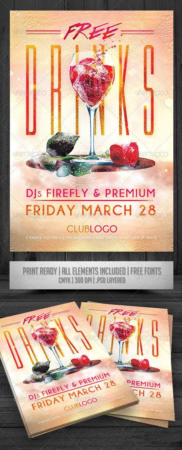 GraphicRiver Free Drinks Flyer 8468421