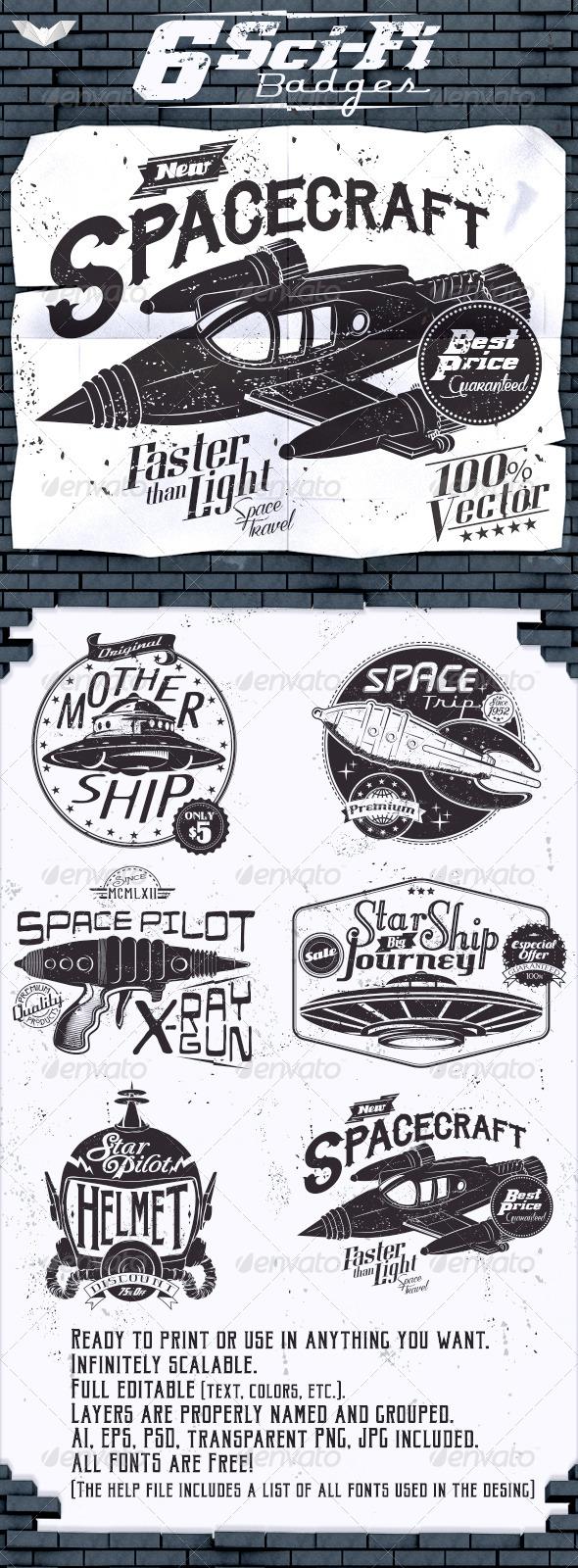 GraphicRiver 6 Sci-Fi Badges 8447112