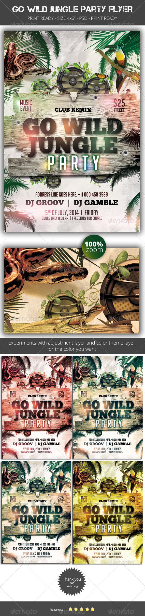 GraphicRiver Go Wild Jungle Party Flyer 8468654