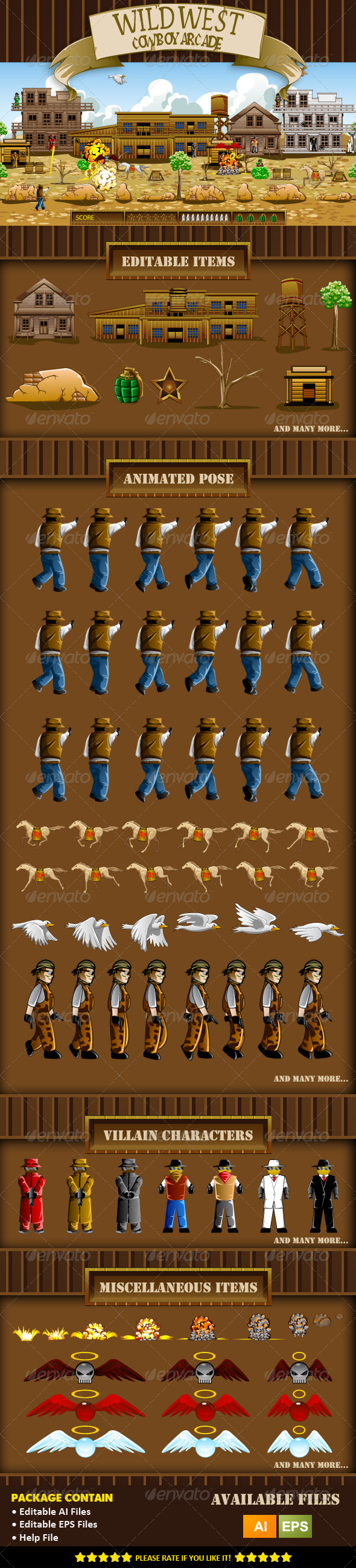 GraphicRiver Wild West Cowboy Game Assets 8468685