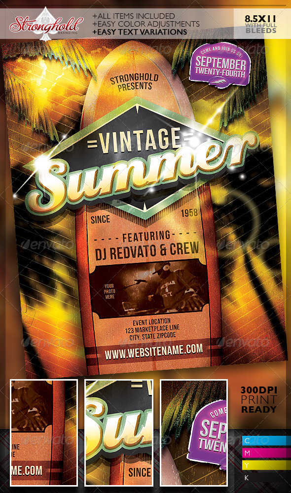 Vintage Summer Surfboard Flyer Template
