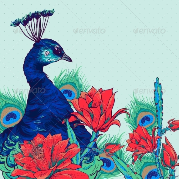 GraphicRiver Floral Vector Vintage Card with Peacock 8469136