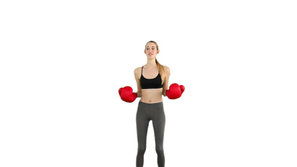 Fit Model Cheering With Red Boxing Gloves 4
