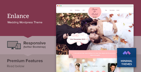 Enlance is a nice and responsive one page WordPress theme for wedding, engagement or other events purpose. It comes with a simple yet elegant parallax design. R