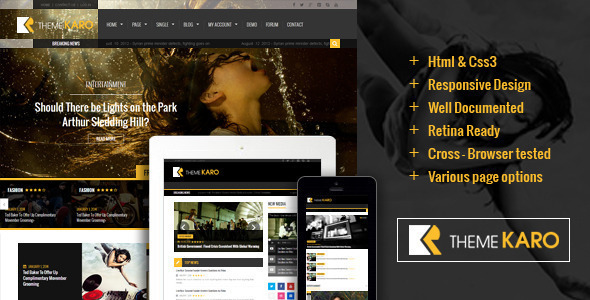 Karo Magazine HTML5 Template - Entertainment Site Templates