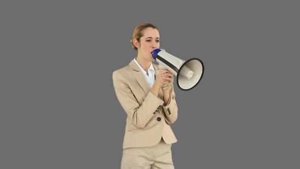 Bossy Businesswoman Shouting Through Megaphone 2