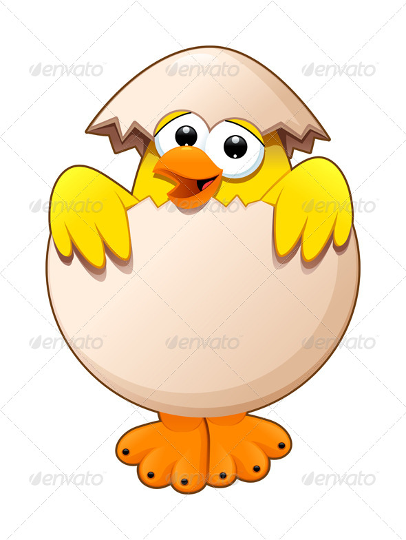 GraphicRiver Funny Chick in the Egg 8469417