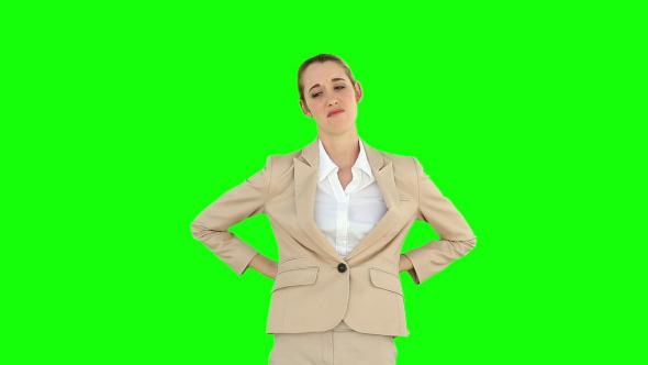 Businesswoman Rubbing Her Sore Back 1