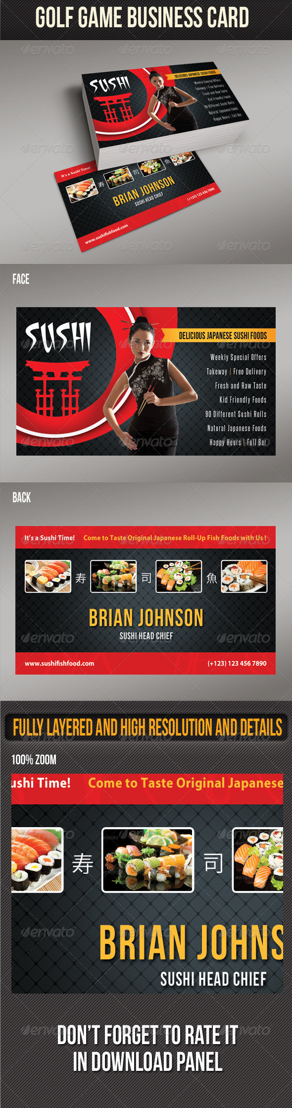 GraphicRiver Sushi Food Business Card 01 8469496