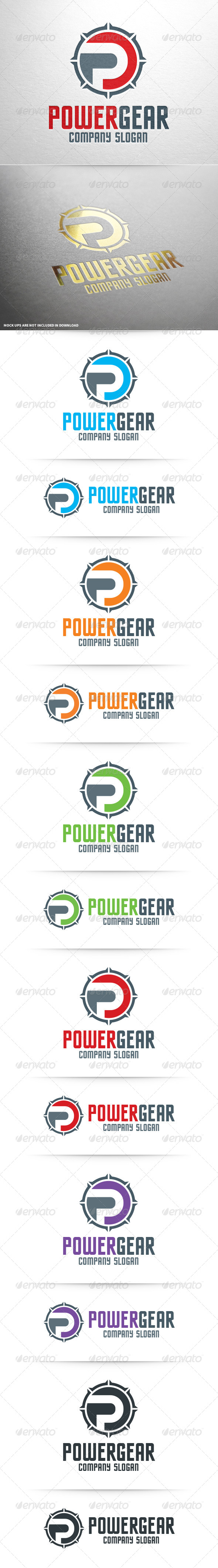 GraphicRiver Power Gear Letter P Logo 8469611