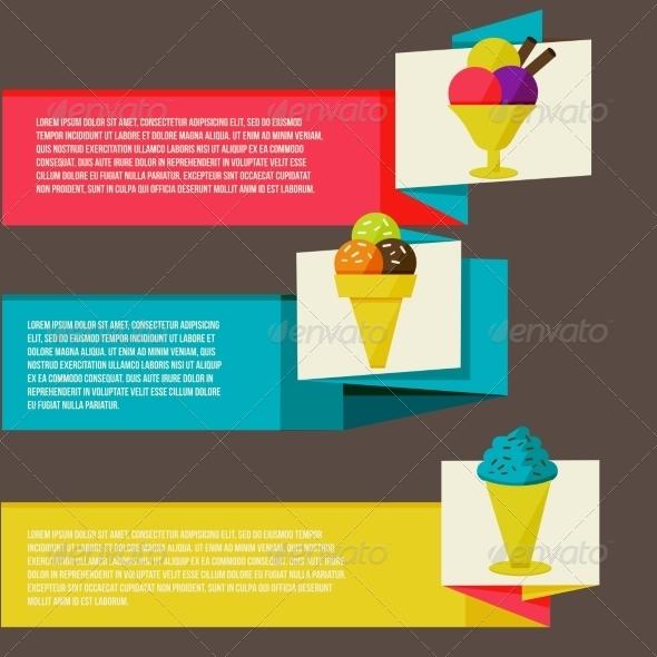 GraphicRiver Decorative Ice Cream Paper Banners Set 8469702