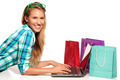 Young Woman Sitting at the desk  shopping Online - PhotoDune Item for Sale