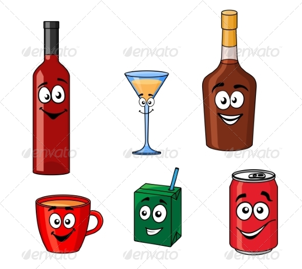 GraphicRiver Cartoon Set of Assorted Beverages or Drinks 8469733