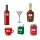 Cartoon Set of Assorted Beverages or Drinks - GraphicRiver Item for Sale