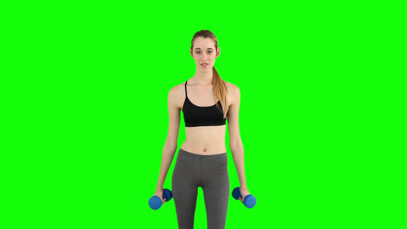 Fit Model Raising Hand Weights
