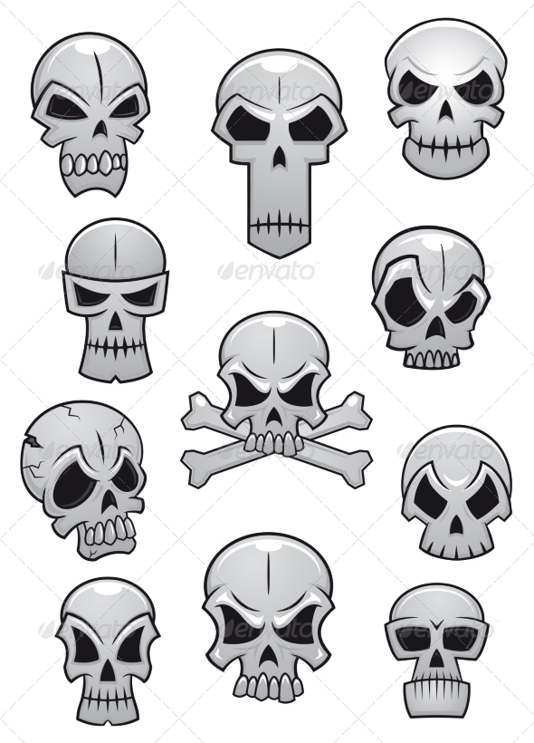 GraphicRiver Human Halloween Skulls Set 8469756