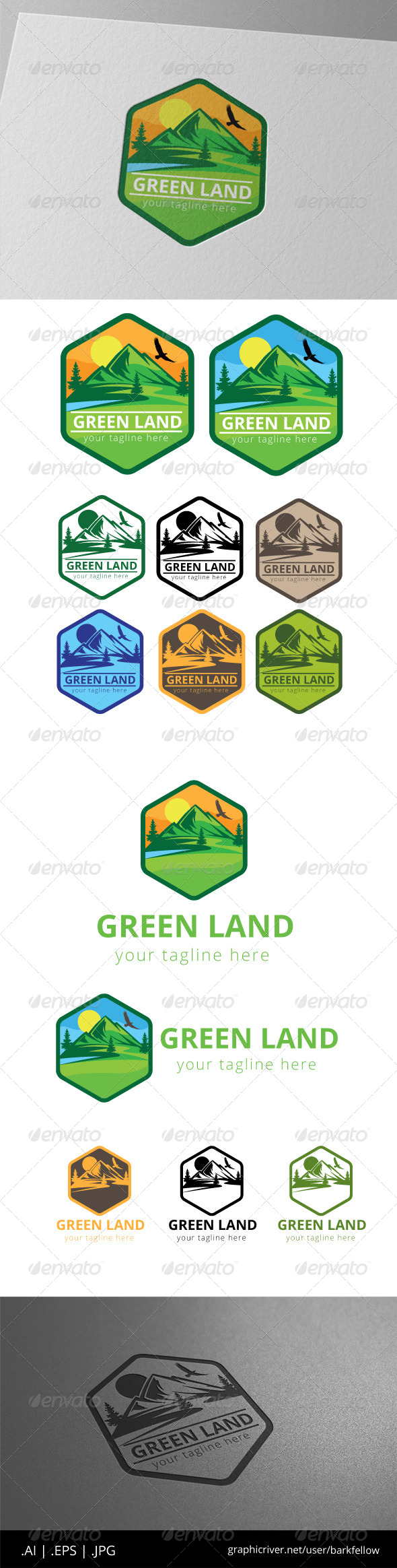 GraphicRiver Green Mountain High Land Label Logo 8468243