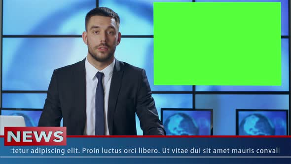 Download Presenter in Broadcasting Studio With Green Screen nulled download