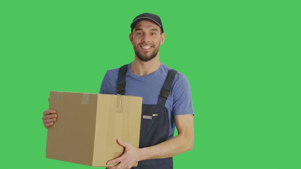 VideoHive Mid Shot of a Handsome Loader Holding Cardboard Box 19462279