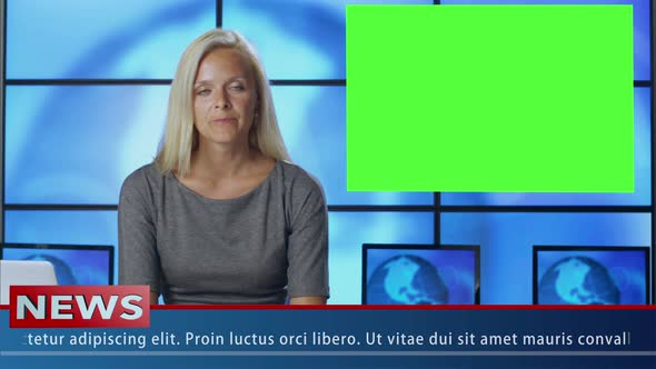 Download News Presenter in Broadcasting Studio With Green Screen nulled download