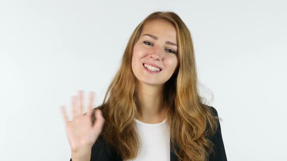 Download Businesswoman Waving Hand , welcome , hi , White background nulled download