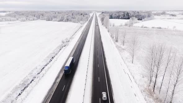 VideoHive Aerial Highway Panorama in Winter Season 19141368