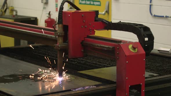 VideoHive Plasma Cutting Machine In Factory 18702636
