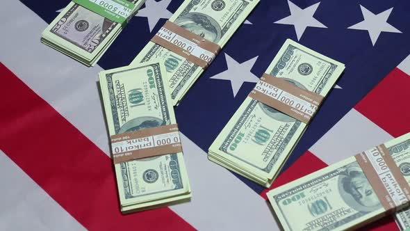Download Packs Of Dollars On The Flag Of America nulled download