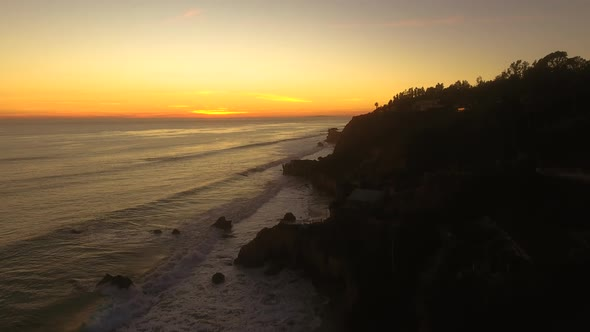 VideoHive Sunset Deserted Wild El Matador Beach Malibu California Aerial Ocean View Strong Waves with Rocks 19000197