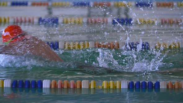 Professional Swimmer Performing Butterfly Stroke